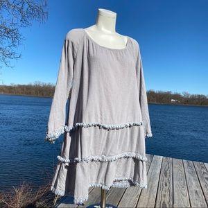 Soft Surroundings grey boho cotton fringe dress